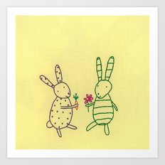 Bunnies Share Art Print