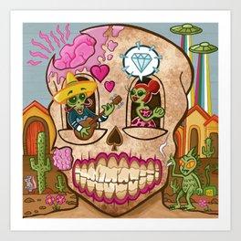 Mexican Skull House Art Print