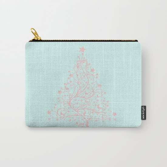 Merry christmas- Pink abstract christmastree on turquoise backround Carry-All Pouch