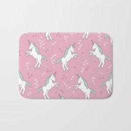 Unicorn Love pink pattern Bath Mat
