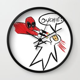 Dead pool ouchie - chimichanga Wall Clock