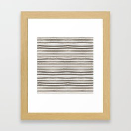 Simply Shibori Stripes Earth Brown on Lunar Gray Framed Art Print