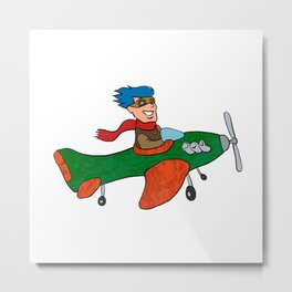 retro cartoon airplane Metal Print