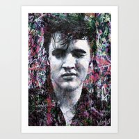 elvis Art Prints featuring ELVIS PRESLEY by Vonis