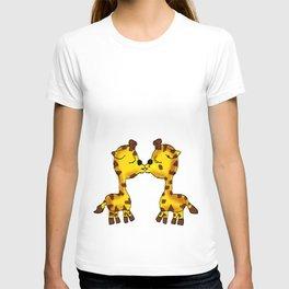 2 Cute Giraffes Kissing  T-shirt
