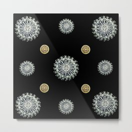 Silver and Gold on Black Mandala Textile Metal Print