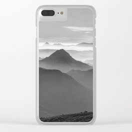 """""""Sunset at the mountains III"""" BW Clear iPhone Case"""