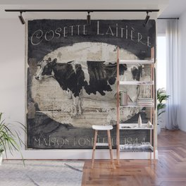 Vintage French Farm Sign Cow Wall Mural