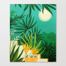 Exotic Garden Nightscape / Tropical Night Series #2 Canvas Print