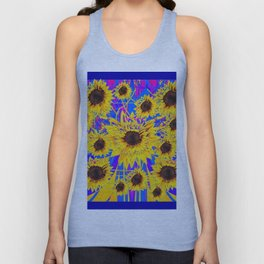 SURREAL FUCHSIA BLUEW SUNFLOWERS  MODERN ART Unisex Tank Top