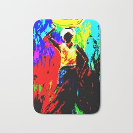 African Lady Carrying Fruit, Abstract Print Bath Mat