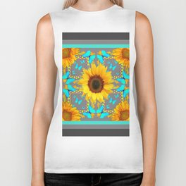 Decorative Yellow Sunflowers & Blue Butterflies Design Grey Art Biker Tank
