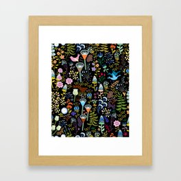 Seamless pattern with bright multicolored decorative flowers on a black background Framed Art Print