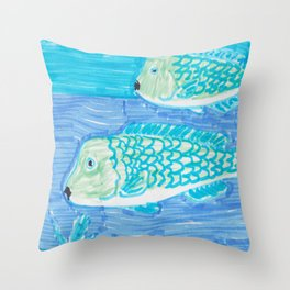 Bump Head Parrot Fish Throw Pillow
