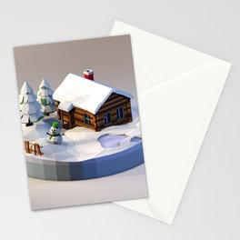 Log house in a winter scene Stationery Cards
