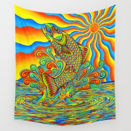 Psychedelic Rainbow Trout Fish Wall Tapestry