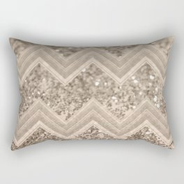Sepia Glitter Chevron #1 #shiny #decor #art #society6 Rectangular Pillow