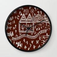 coasters Wall Clocks featuring Warli Art by Sketchii Studio
