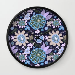 Playful Flowers Pale Blue and Purple Wall Clock