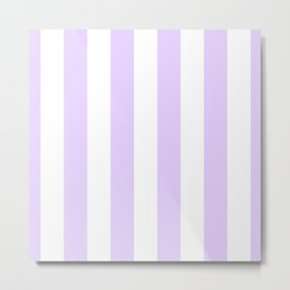 Chalky Pale Lilac Pastel and White Beach Hut Stripes Metal Print