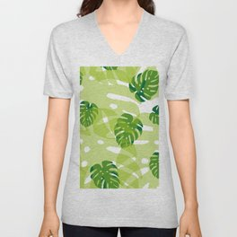 green monstera jungle Unisex V-Neck