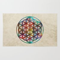 flower of life Area & Throw Rugs featuring Flower of Life by Klara Acel