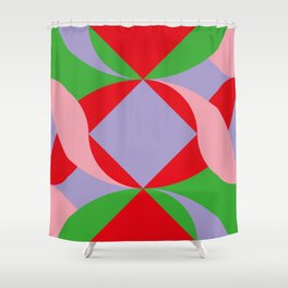 Two red squares and a Squared hole Shower Curtain