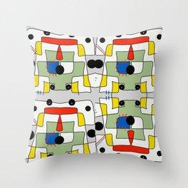 Black dots color block abstract Throw Pillow