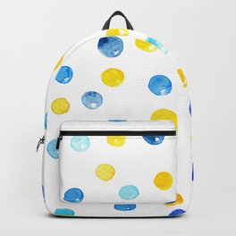 Blue and yellow marbles | Watercolor pattern Backpack