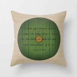 The Road Goes Ever On - Green Door Throw Pillow