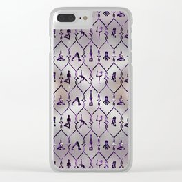 Amethyst Yoga Asanas pattern on mother of pearl Clear iPhone Case