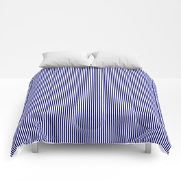 Navy Blue Vertical Pinstripes on White Comforters