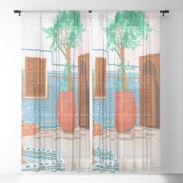 Moroccan Villa #painting #illustration Sheer Curtain