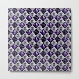 Reiki Symbols Pattern on Amethyst and peal Metal Print