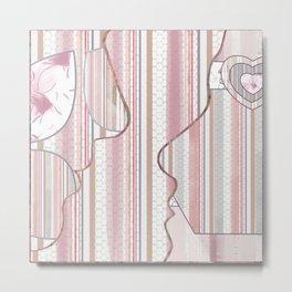 Collage - pink-white- vanilla ice facial silhouettes Metal Print