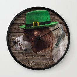 Irish Setter in Green Leprechaun Hat Wall Clock