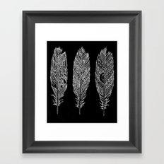 Patterned Plumes - White Framed Art Print