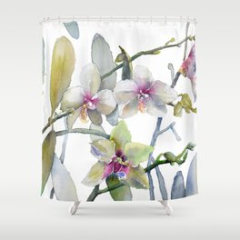 White and Pink Magnolias, Goldfish hiding, Surreal Shower Curtain