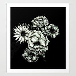 Black Floral Ink III Art Print