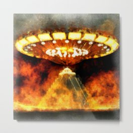 Ancient Aliens in Fire by Raphael Terra Metal Print