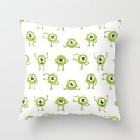 monster inc Throw Pillows featuring Monster's Inc. by Pink Berry Patterns