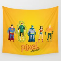 league Wall Tapestries featuring Justice League of America - Pixel Nostalgia by Boo! Studio