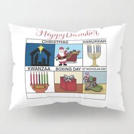 Happy December Holiday Christmas, Hanukkah, Kwanzaa, Boxing Day, St Nicholas Day Design Pillow Sham
