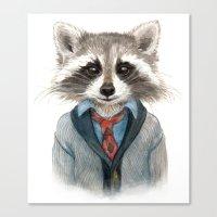 raccoon Canvas Prints featuring Raccoon by Leslie Evans