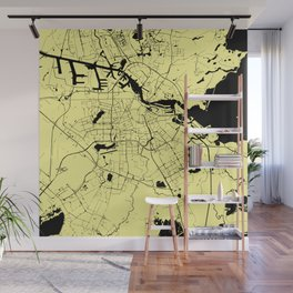 Amsterdam Yellow on Black Street Map Wall Mural