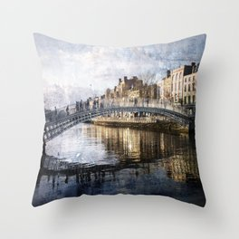 Ha'PPeny Bridge Throw Pillow
