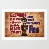 swanson Art Prints featuring Ron Swanson by maykel nunes