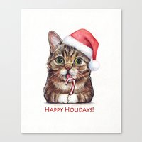 lil bub Canvas Prints featuring Lil Bub in Santa Hat with Candy Cane - Happy Holidays by Olechka