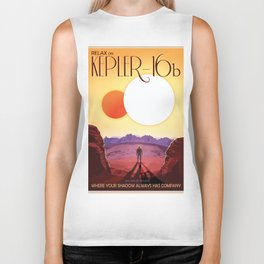 NASA Retro Space Travel Poster #8 Kepler 16b Biker Tank