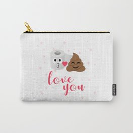Poop and toilet tissue couple in romantic mood Carry-All Pouch